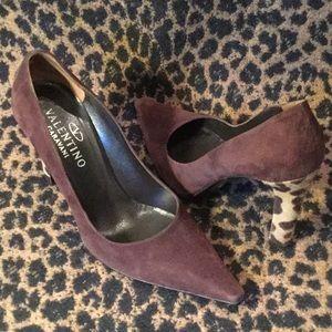 Valentino Chocolate brown suede leopard heel pumps